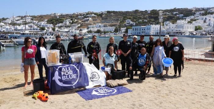 (vid&pics) Mykonos Daily Report: Δράση της All For Blue στον γιαλό της Μυκόνου