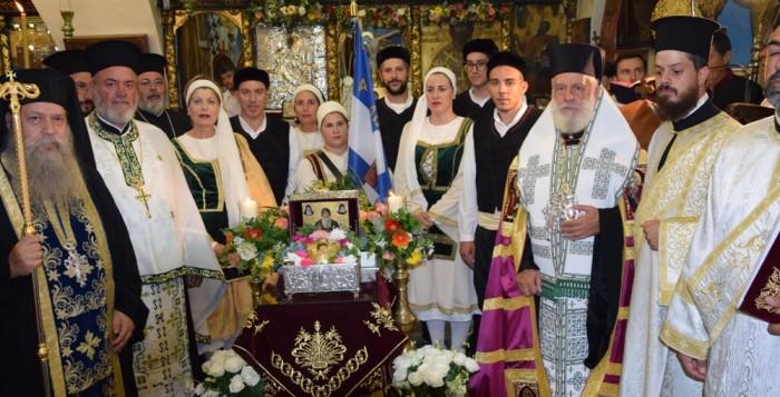 Οι Μυκόνιοι τίμησαν την Παναγία Γοργοϋπηκοο και προσκύνησαν την τίμια κάρα του Οσίου Δαβίδν του εν Εύβοια