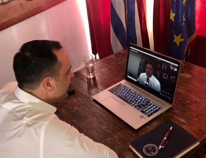 Τηλεδιάσκεψη του Δήμαρχου Κωνσταντίνου Κουκά με τον Αν. Υπουργό Εξωτερικών Μιλτιάδη Βαρβιτσιώτη