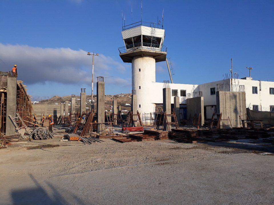 (ΦΩΤΟ) Εργασίες επέκτασης στο διεθνές αεροδρόμιο Μυκόνου