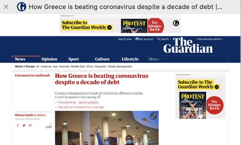 Guardian: Πώς η Ελλάδα κερδίζει τη μάχη του κορoνοϊού