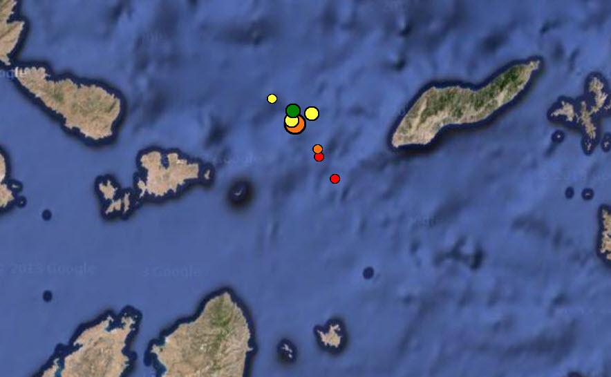 Συνεχίζονται οι μικρές σεισμικές δονήσεις Βορειανατολικά της Μυκόνου