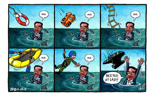 Το Όχι που έγινε Ναι μέσα από σκίτσο της Telegraph