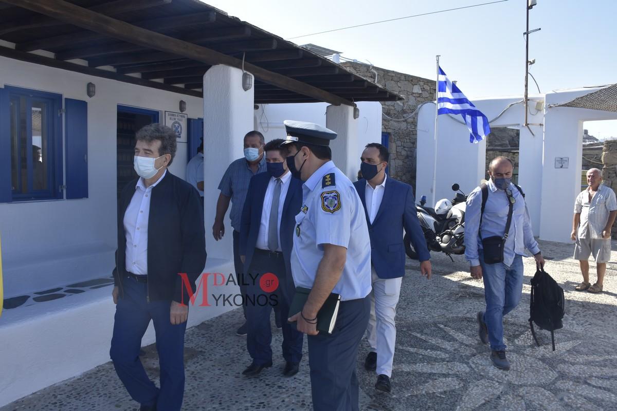 Επίσκεψη στο αστυνομικό τμήμα Μυκόνου του Υπουργού Προστασίας του Πολίτη, Μιχάλη Χρυσοχοΐδη