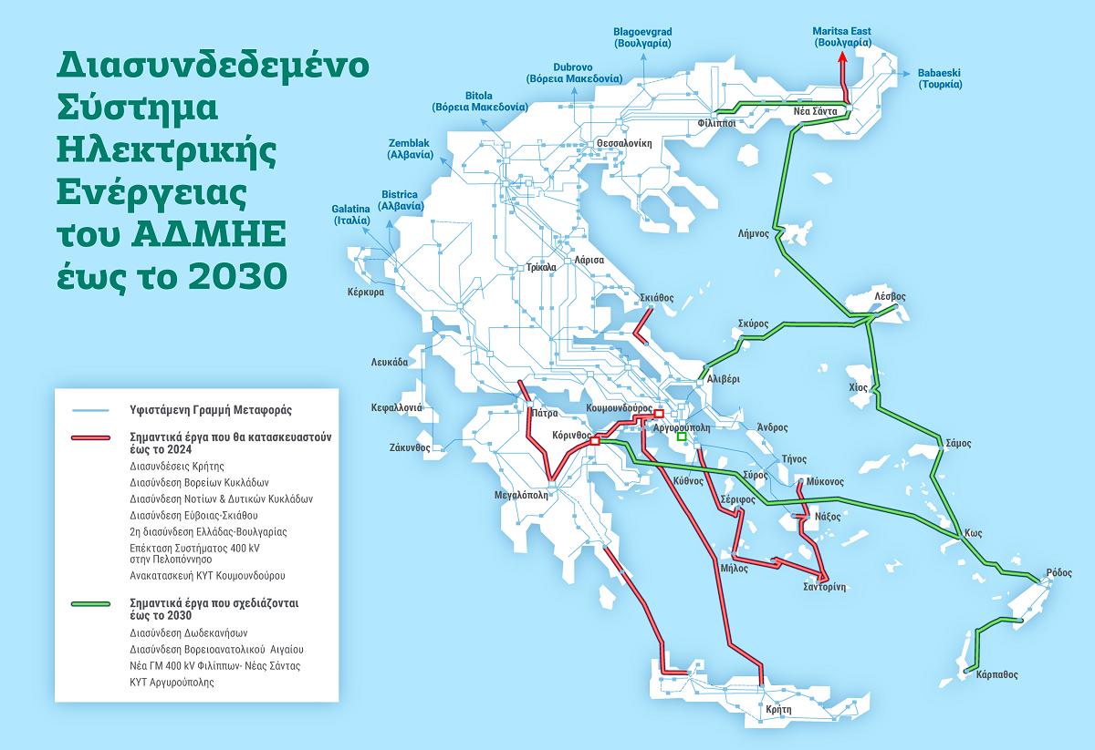 To 2030 ολοκληρώνεται ο χάρτης των ηλεκτρικών διασυνδέσεων