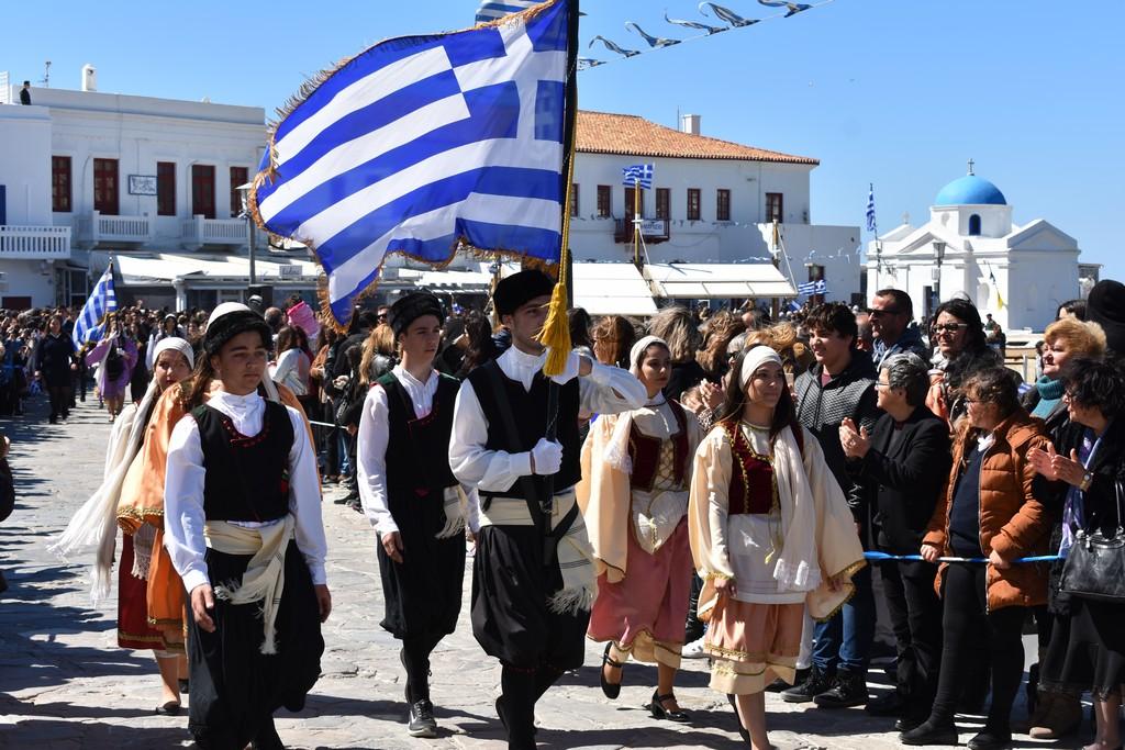 Με λαμπρότητα ο εορτασμός της 25ης Μαρτίου στη Μύκονο