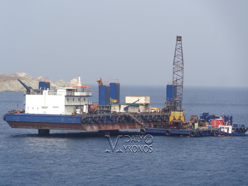 Απομακρύνθηκε και το τελευταίο κομμάτι του τούρκικου πλοίου από τις Βόρειες Ακτές της Μυκόνου