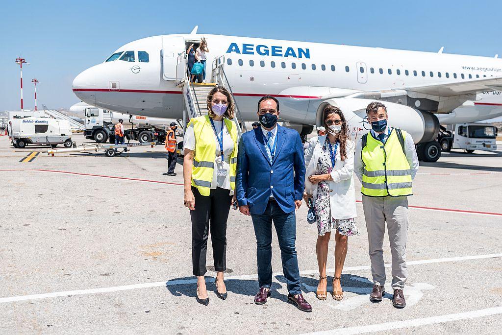 Παρουσία του Δημάρχου Μυκόνου η πρώτη άφιξη της Aegean απευθείας από Ζυρίχη