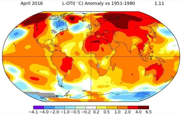 Ο Απρίλιος του 2016 ήταν ο θερμότερος που έχει καταγραφεί στα χρονικά