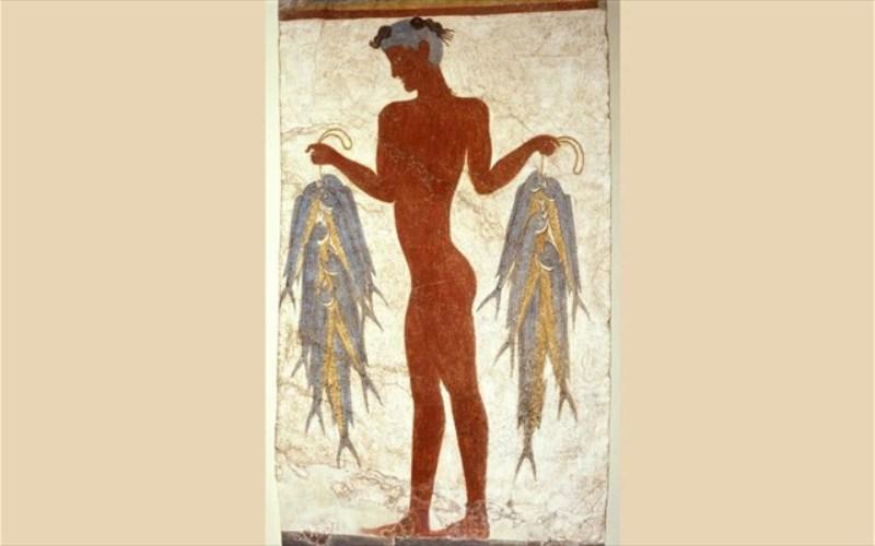 Η διάσημη τοιχογραφία του «Ψαρά» εκτίθεται στο Μουσείο Προϊστορικής Θήρας